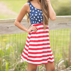 Women's Print American Flag Sleeveless Mini Dress Summer Sundress