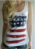 New Fashion Summer Vintage American Flags Tank Top Sleeveless Women Vest Femmes July Fourth Camisole 4th Of July Clothing
