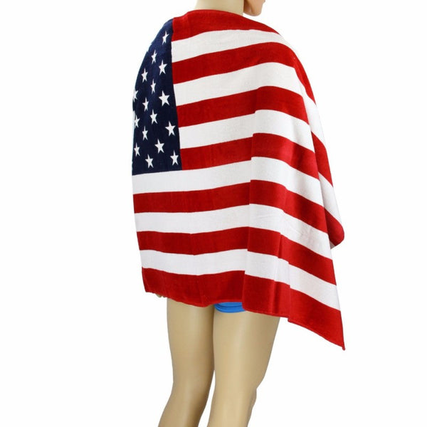 American Flag Design Absorbent Bath Cotton Beach Towel