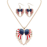 American Flag Jewelry Set Wing Necklace Earrings Suit for Women