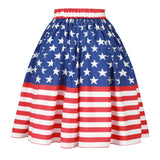 Print Pleated Skirt Summer Women Blue Stars Striped High Waist Knee Length