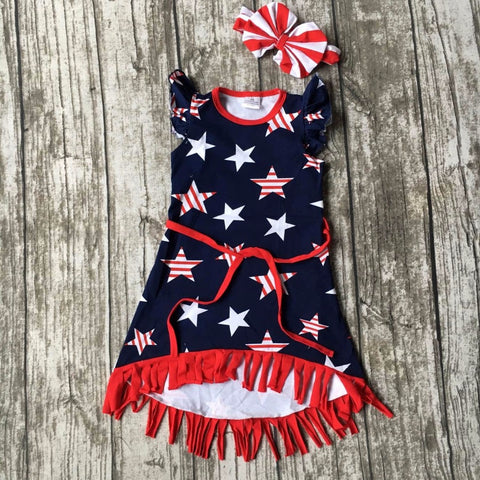 new arrival July 4th baby girls kids summer fringe tassels outfits dress star print belt navy red matching accessories bow set