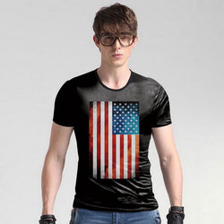 American flag 3D print T shirt and personality trend camouflage
