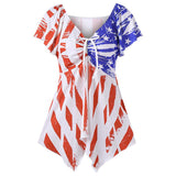 American Flag V-Neck T Shirt Butterfly Knot Loose Casual Dress