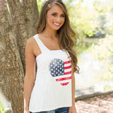 Sweet Style Girls Tank Love Heart American Flag Pattern Sleeveless Big O-neck Tank Cotton+Polyester Top