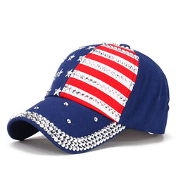 American flag fashion hat caps men and women's rhinestone hat denim and cotton snapback