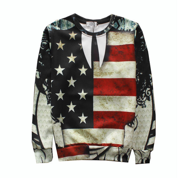Men Women Unisex USA Flag Pullover Patriotic Sweatshirt
