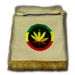 NEUTRAL COLOR MESSENGER BAG WITH CANNABIS LEAF
