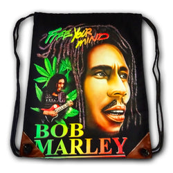 Bob Marley Black Canvas Drawstring Bag