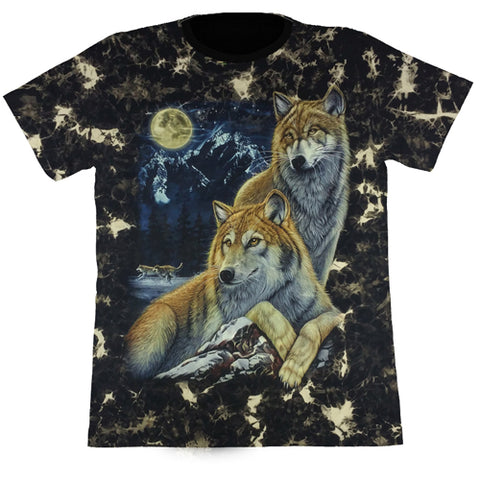 2 Wolves With A Full Moon Black Tie-Dye T Shirt