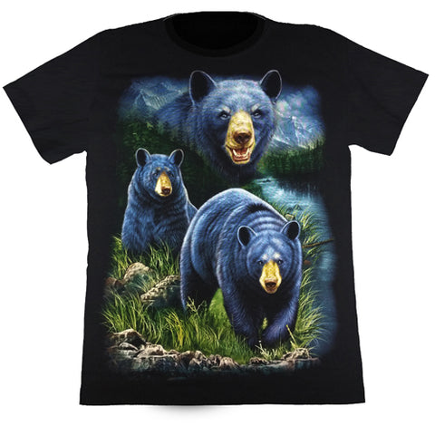 3 Black Bears In The Wild Black T Shirt