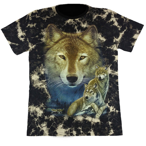 3 Wolves Black Tie-Dye T Shirt