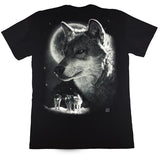4 Wolves In The Full Moonlight Black T Shirt