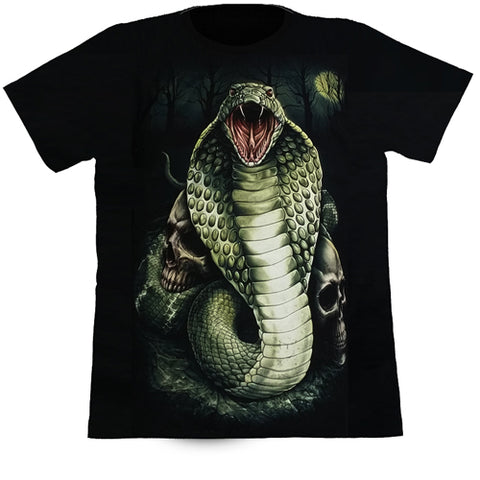 Cobra Snake With 2 Skulls In The Full Moonlight Black T Shirt