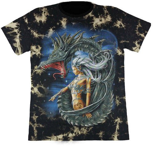 Dragon & Female Black Tie-Dye T Shirt