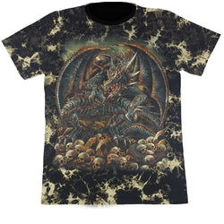 Dragon With Wings Black Tie-Dye T Shirt
