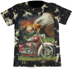 Large Eagle And A Motorcycle Black Tie-Dye T Shirt