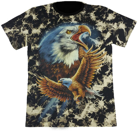 2 Large Eagles Black Tie-Dye T Shirt