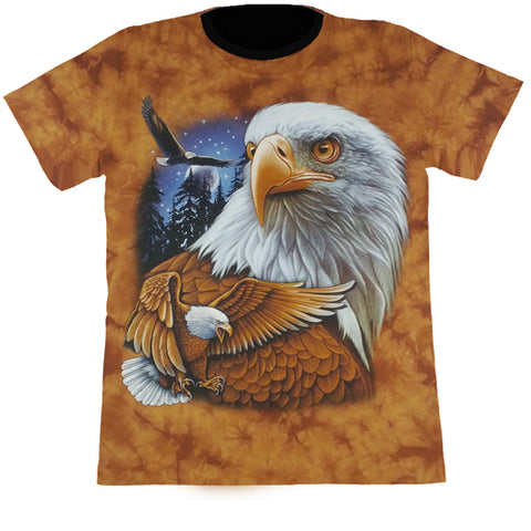 Large Eagles In The Wild Orange Tie-Dye T Shirt