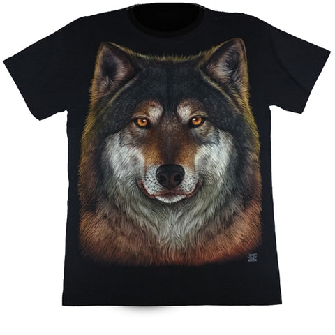 Large Wolf Face Black T Shirt