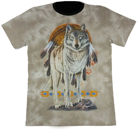 Large Wolf & Dreamcatcher Light Brown Tie-Dye T Shirt