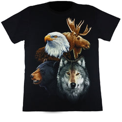 Moose, Eagle, Bear & Wolf Black T Shirt