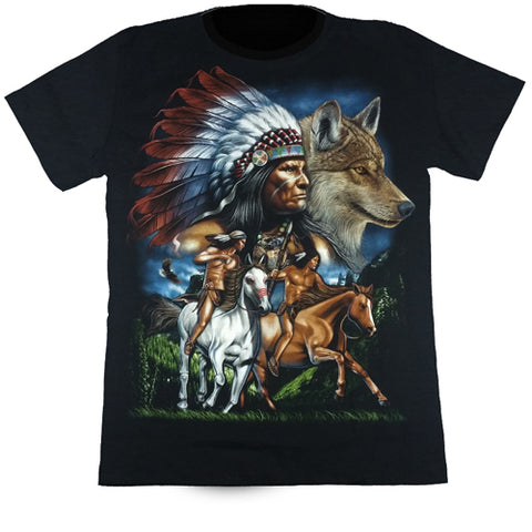 Native Chief & Wolf Black T Shirt