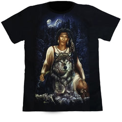 Native Female With A Wolf Black T Shirt