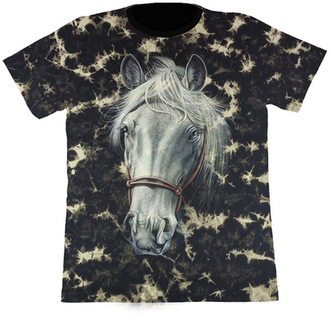 White Horse Black Tie-Dye T Shirt