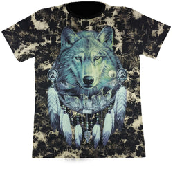 Large Wolf In Dreamcatcher Black Tie-Dye T Shirt