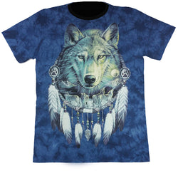 Large Wolf In Dreamcatcher Blue Tie-Dye T Shirt