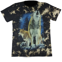 Large Wolves In The Wild Black Tie-Dye T Shirt