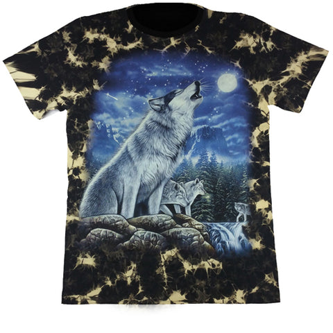 Wolves In The Moonlight Black Tie-Dye T Shirt