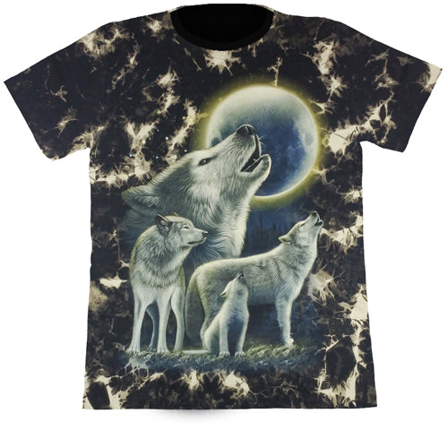 Wolves In The Full Moonlight Black Tie-Dye T Shirt