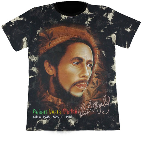 Bob Marley Black Tie-Dye Glow In The Dark T-Shirt