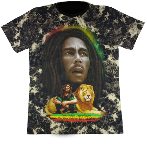 "BOB MARLEY ""Don't Forget Your History"" - Black Tie-Dye T-Shirt (Glow In The Dark)"