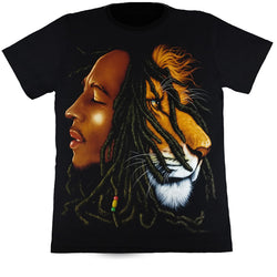 Bob Marley Half Lion Face Black T-Shirt