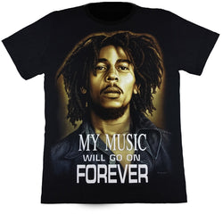 Bob Marley My Music Will Go On Forever Black T-Shirt