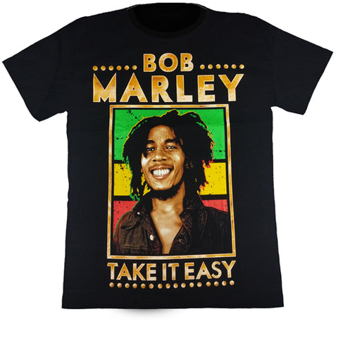 "BOB MARLEY ""TAKE IT EASY"" - Black T-Shirt"