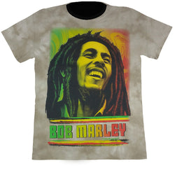 BOB MARLEY TRI COLOUR - Light Brown Tie-Dye T-Shirt