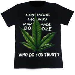GOD MADE GRASS - Black T-Shirt