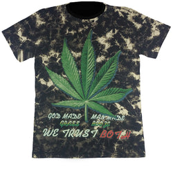 GOD MADE GRASS - Black Tie-Dye T-Shirt (Glow In The Dark)