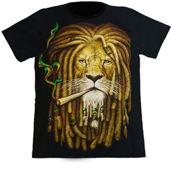 RASTA LION - Black T-Shirt