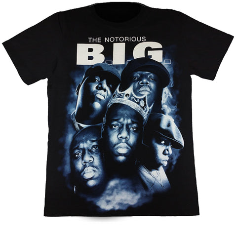 5 Faces The Notorious BIG Black T Shirt