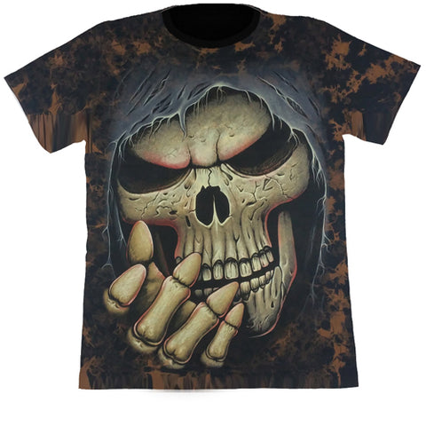Large Skull Brown Tie-Dye T Shirt