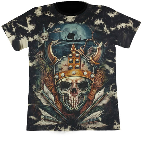 Large Pirate Skull Black Tie-Dye T Shirt