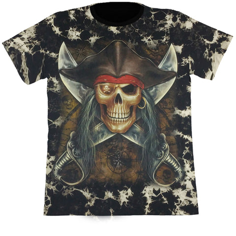 Large Pirate Skull With Crossed Knives Black Tie-Dye T Shirt