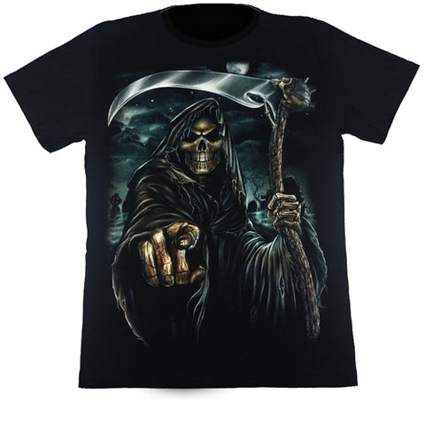 Grim Reaper Holding A Scythe And Pointing Black T Shirt