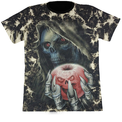 Skeleton Holding Evil Apple Black Tie-Dye T Shirt