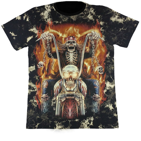 Skeleton Riding A Motorcycle On Fire Black Tie-Dye T Shirt